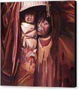 Apache Girl And Papoose Canvas Print