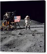 Apollo 16 Astronaut Leaps Canvas Print by Stocktrek Images