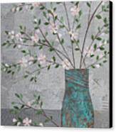 Apple Blossoms In Turquoise Vase Canvas Print
