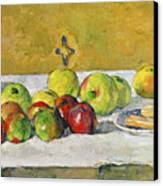 Apples And Biscuits Canvas Print by Paul Cezanne
