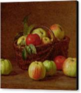 Apples In A Basket And On A Table Canvas Print by Ignace Henri Jean Fantin-Latour