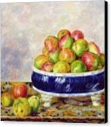 Apples In A Dish Canvas Print by  Pierre Auguste Renoir