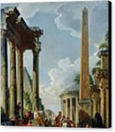 Architectural Capriccio With A Preacher In The Ruins Canvas Print