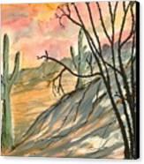 Arizona Evening Southwestern Landscape Painting Poster Print  Canvas Print by Derek Mccrea
