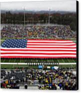 Army An American Flag Spans Michie Stadium Canvas Print by Associated Press