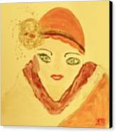 Art Deco Girl In The Red Hat Canvas Print