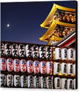 Asakusa Kannon Temple Pagoda And Lanterns At Night Canvas Print by Christine Till