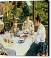 At The Tea-table Canvas Print by Konstantin Alekseevich Korovin