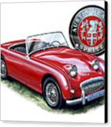 Austin Healey Bugeye Sprite Red Canvas Print by David Kyte