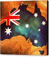 Australian Flag On Rock Canvas Print