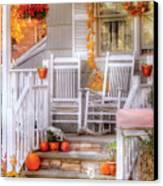 Autumn - House - My Aunts Porch Canvas Print by Mike Savad
