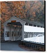 Autumn At Knox Covered Bridge In Valley Forge Canvas Print by Bill Cannon