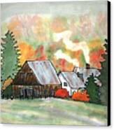 Autumn Chill Silk Painting Canvas Print
