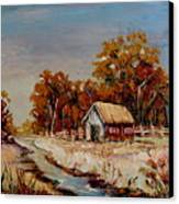 Autumn House By The Stream Canvas Print
