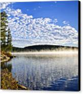 Autumn Lake Shore With Fog Canvas Print