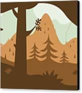 Autumn Landscape With Deer Canvas Print