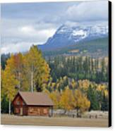 Autumn Mountain Cabin In Glacier Park Canvas Print by Bruce Gourley