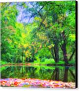 Autumn Pond In Gladwyne Canvas Print by Bill Cannon