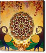 Autumn Serenade - Mandala Of The Two Peacocks Canvas Print by Bedros Awak