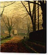 Autumn Sunshine Stapleton Parknear Pontefract  Canvas Print by John Atkinson Grimshaw