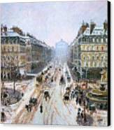 Avenue De L'opera - Effect Of Snow Canvas Print by Camille Pissarro