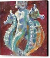 Baby Mermaid Avec Seahorses Canvas Print