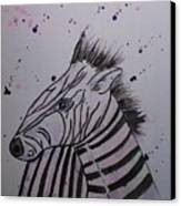 Baby Zebra Canvas Print by Ginny Youngblood