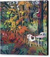 Backyard In Autumn Canvas Print by Donald Maier