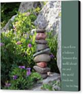 Balancing Stones With Tao Quote Canvas Print by Heidi Hermes