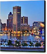 Baltimore Skyline Inner Harbor Panorama At Dusk Canvas Print