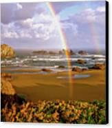 Bandon Beach Rainbow Sunrise Canvas Print by Ed  Riche