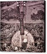 Banjo Mandolin On Garden Wall Canvas Print by Bill Cannon