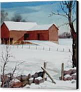 Bankbarn In The Snow Canvas Print
