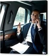 Barack Obama Talks To A Member Canvas Print