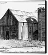Barn And Silo Distressed Version Canvas Print by Joyce Geleynse