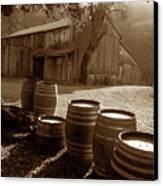 Barn And Wine Barrels 2 Canvas Print by Kathy Yates