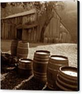 Barn And Wine Barrels 2 Canvas Print by Kathy Yates