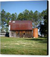 Barn With Tree In Silo Canvas Print by Douglas Barnett