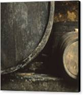 Barrels Of Wine In A Wine Cellar. France Canvas Print