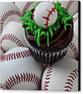 Baseball Cupcake Canvas Print by Garry Gay