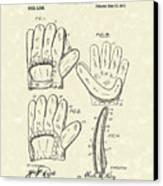 Baseball Glove 1910 Patent Art Canvas Print by Prior Art Design