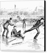 Baseball On Ice, 1884 Canvas Print by Granger