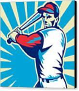 Baseball Player Batting Retro Canvas Print