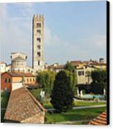 Basilica Di San Frediano With Palazzo Pfanner Gardens Canvas Print