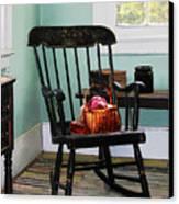 Basket Of Yarn On Rocking Chair Canvas Print by Susan Savad