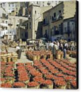 Baskets Filled With Tomatoes Stand Canvas Print by Luis Marden