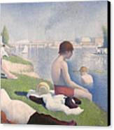 Bathers At Asnieres Canvas Print by Georges Pierre Seurat