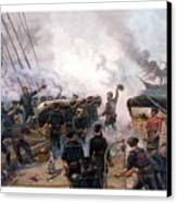 Battle Between Kearsarge And Alabama Canvas Print by War Is Hell Store