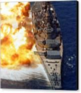 Battleship Uss Iowa Firing Its Mark 7 Canvas Print by Stocktrek Images