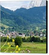 Bavarian Alps With Village And Flowers Canvas Print